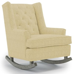 Paisley Button Tufted Rocking Chair with Wood Runners