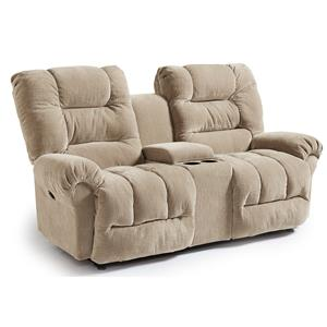 Casual Power Space Saver Reclining Loveseat with Cupholder Console