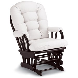 Traditional Glider Rocker with Tufted Cushion