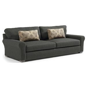 Transitional Wide Sofa with Removable Cushions