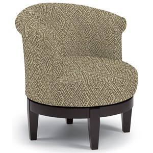 Chic Attica Swivel Chair with Traditional Rolled Chair Back