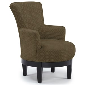 Justine Swivel Chair with Chic, Flared Arms