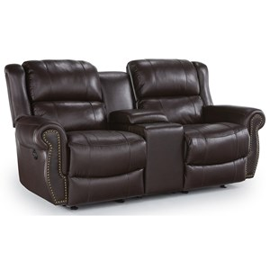 Transitional Power Rocker Recliner Loveseat with Drink Console