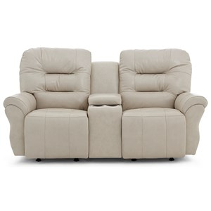 Casual Space Saver Reclining  Loveseat with Cupholder Storage Console