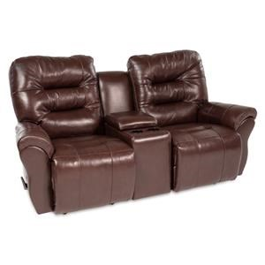 Casual Rocking Reclining  Loveseat with Cupholder Storage Console