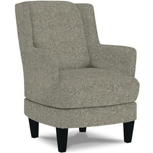 Casual Swivel Barrel Chair with Wood Legs