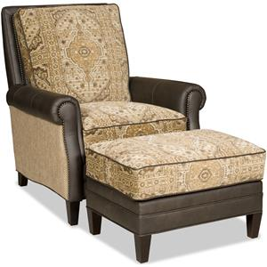 Transitional Reclining Chair and Ottoman Set with Nailheads