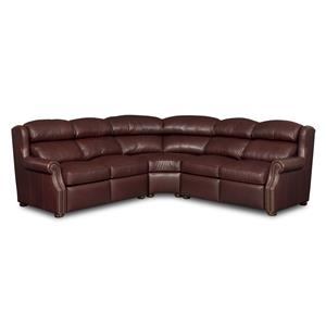 Traditional Leather Three Piece Reclining Sectional Sofa