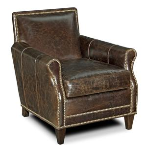 Tight Back Rolled Arm Club Chair with Bold Nail Head