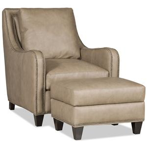 Transitional Chair and Ottoman with Curved Track Arms and All-Over Nailheads