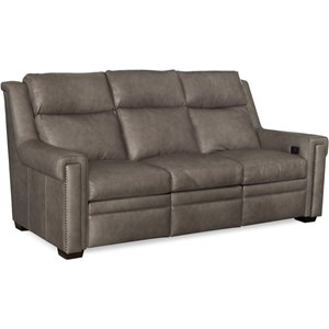Transitional Reclining Sofa with Articulated Power Headrest
