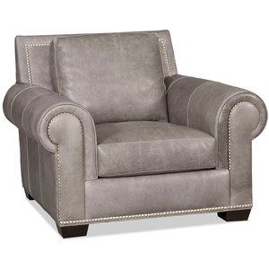 Transitional Chair with Large Rolled Arms and Nailhead Border