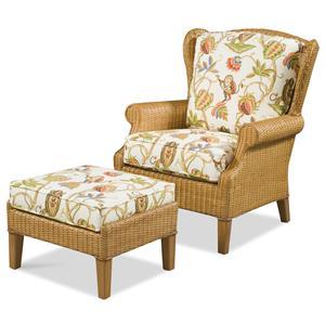 High Back Chair & Wicker Ottoman