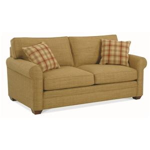 Casual Two Seater Loft Sofa with Rolled Arms and Exposed Wood Feet