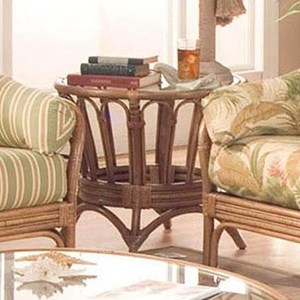 Round End Table with Wicker Rattan Construction