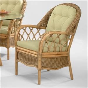 Tropical Rattan Dining Arm Chair with Button-Tufting