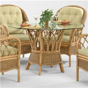 Tropical Dining Table with Round Beveled Glass Top
