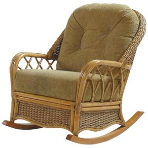 Wicker Rattan Rocker with Tufted Seat Back