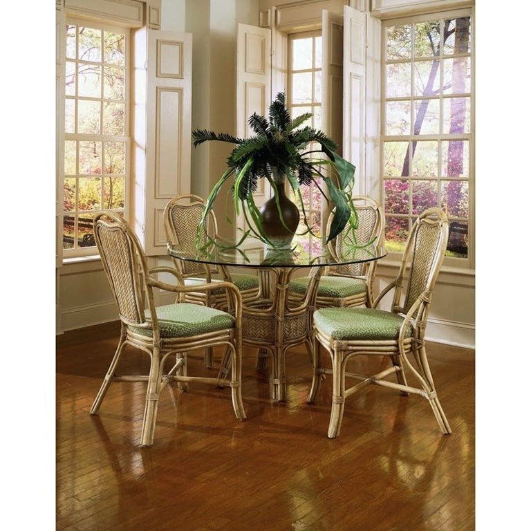 Acapulco Wicker Rattan Dining Table and Chair Set by Braxton Culler at Alison Craig Home Furnishings