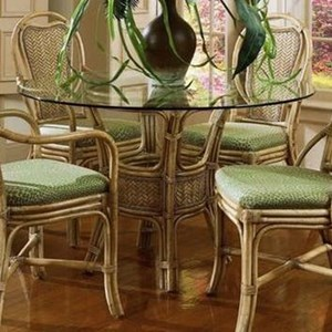 Wicker Rattan Dining Table with Glass Top