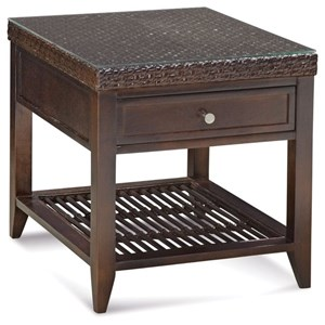 Tropical Wicker One Drawer End Table with Glass Top