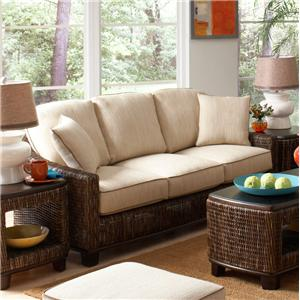 Tropical Wicker Sofa with Track Arms