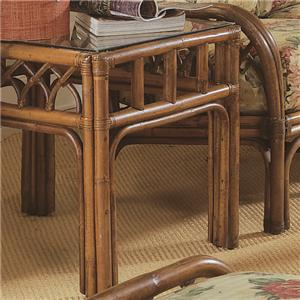 Tropical Rattan End Table with Glass Top