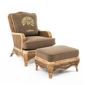 Tropical Rattan Chair and Ottoman Set
