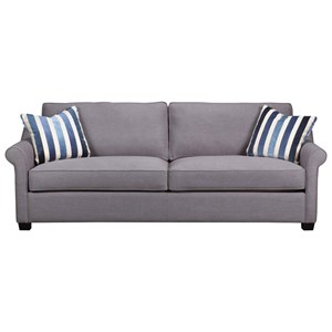 Transitional Sofa with Rolled Sock Arm