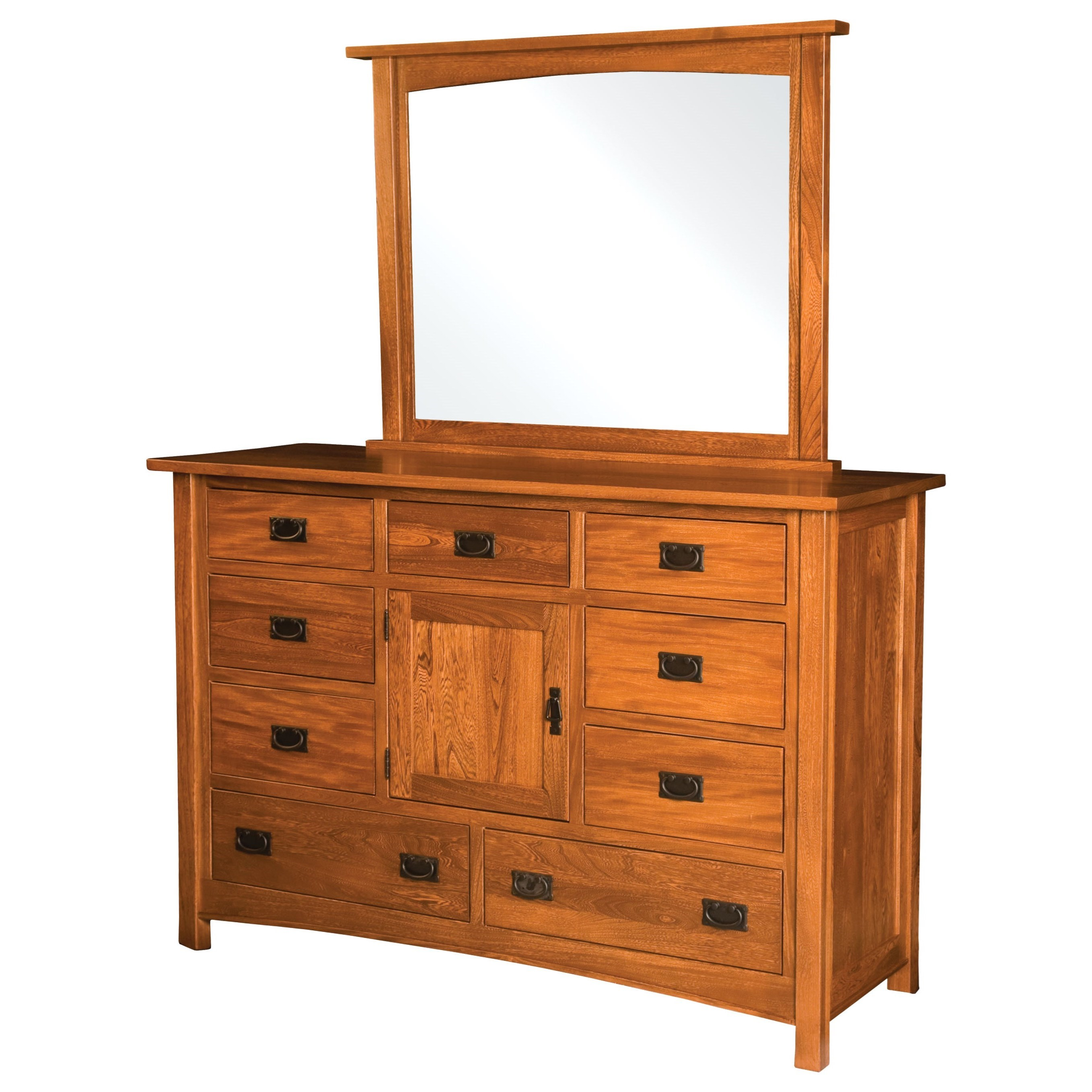 Brooklyn Mission 9 Drawer 1 Door Dresser by Brookside Furniture at Mueller Furniture