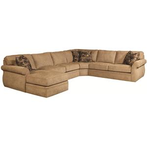 Quick Ship Transitional Sectional Sofa Group with Wedge and Left Chaise