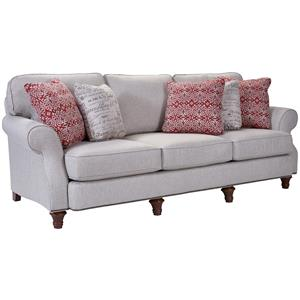 Traditional Sofa with Exposed Wood Turned Feet