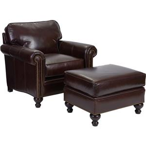 Traditional Style Chair and Ottoman