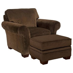 Chair and Ottoman with Exposed Wood Feet