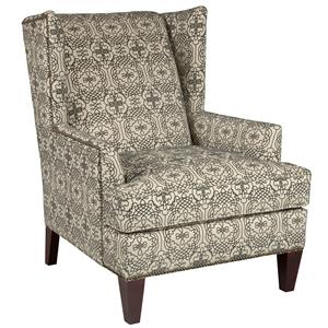 Lauren Chair Contemporary Wing Chair with Brass Nail Head Trim