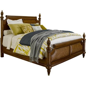 King Panel Bed with Padded Raffia Accents