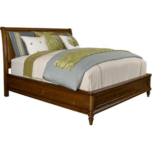 Queen Sleigh Bed with Padded Raffia Accents
