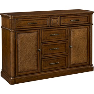 5 Drawer Sideboard with Padded Raffia Door Fronts