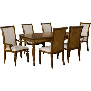 Tropical 7 Piece Table and Chair Set with Padded Raffia Accents