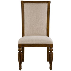 Upholstered Side Chair with Front Turned Legs