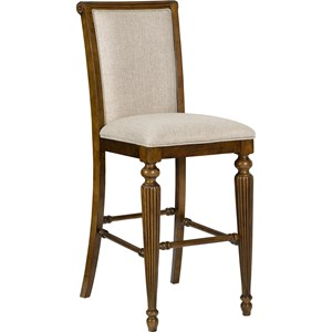 Upholstered Pub Stool with Front Turned Legs