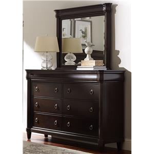 Eight Drawer Dresser and Landscape Mirror
