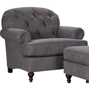 Transitional Upholstered Chair with Button Tufted Seat Back