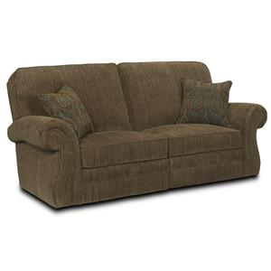 Traditional Reclining Sofa with Rolled Arms and Nailhead Trim