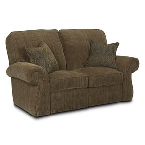 Traditional Power Reclining Loveseat with Rolled Arms and Nailhead Trim