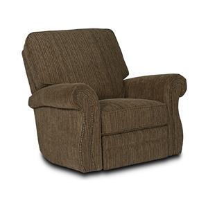 Traditional Swivel Rocker Recliner with Rolled Arms and Nailhead Trim