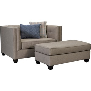 Contemporary Chair & 1/2 and Ottoman