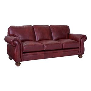 Traditional Stationary Sofa with Large Rolled Arms and Bun Feet