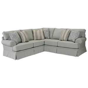 Transitional 2 Pc. Sectional with Rolled Arms