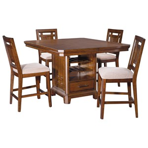 5 Piece Storage Counter Height Table and Upholstered Stool Set